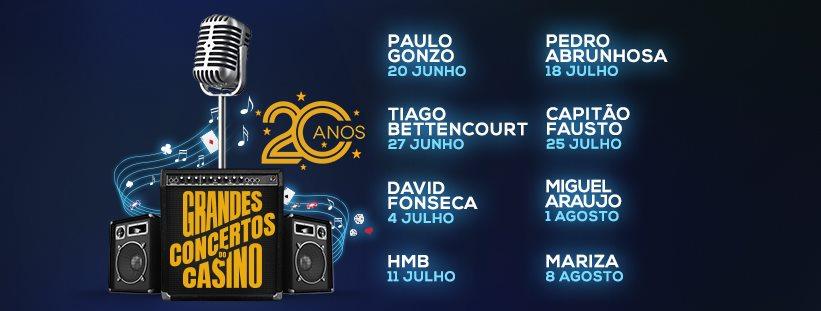 Os Grandes Concertos do Casino Estoril estão de volta! No ano em que o Casino Estoril celebra o 20º aniversário do emblemático ciclo de Grandes Concertos, a edição deste ano conta com um notável cartaz que promete conquistar os seus visitantes, de 20 de Junho a 8 de Agosto, a partir das 23 horas, no Lounge D, com entrada livre.