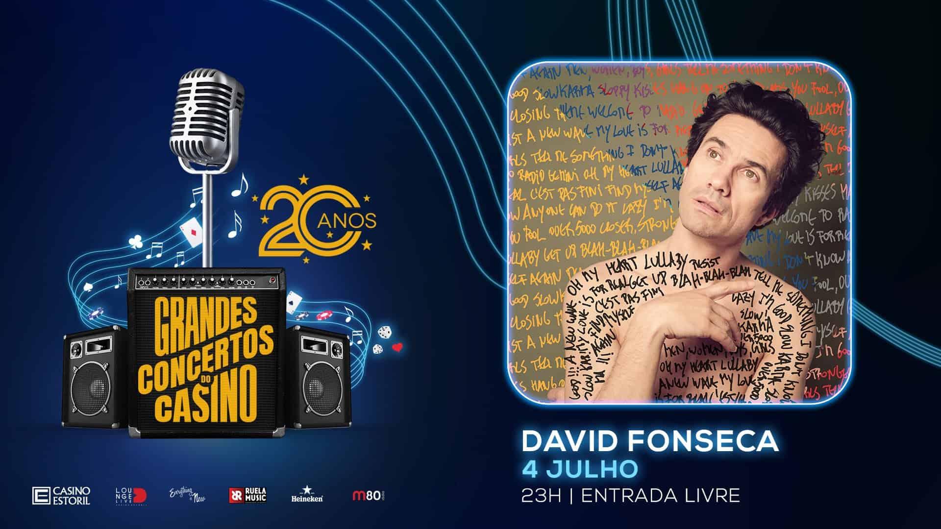 David Fonseca, um nome incontornável no panorama musical português, atua no dia 4 de Julho, pelas 23:00 nos Grandes Concertos do Casino 2019. O Lounge D do Casino Estoril vai acolher este sempre surpreendente artista, para um espetáculo de incomparável criatividade, com entrada livre.