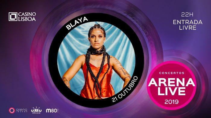 Blaya vai inaugurar, em estreia absoluta, a solo, no Casino Lisboa, na próxima Segunda-Feira, dia 21 de Outubro, o ciclo de Concertos Arena Live 2019. Blaya sobe ao palco central do Arena Lounge para interpretar as suas melhores composições.