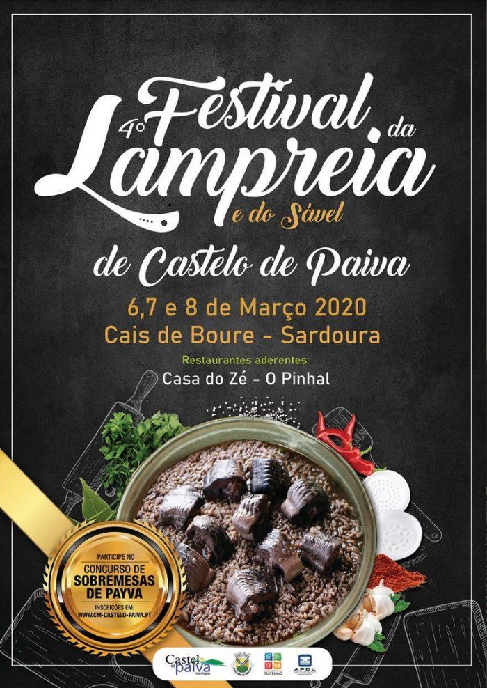 FESTIVAL DA LAMPREIA E DO SÁVEL 2020 DE CASTELO DE PAIVA - O Município de Castelo de Paiva promove, no fim de semana de 6, 7 e 8 de Março, a 4ª Edição do Festival da Lampreia e do Sável, um evento gastronómico orientado para a degustação desta iguaria da cozinha regional, tão presente no concelho e uma das mais emblemáticas da tradição culinária portuguesa.