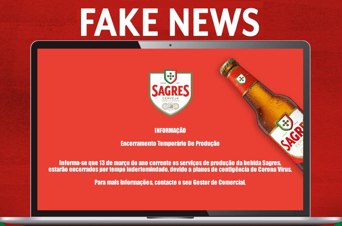 Uma notícia falsa circula nas redes sociais, e por isso, recebemos há momentos informação da Central de Cervejas, que a mesma começou a surgir hoje de manhã, e com origem ainda não identificada, uma informação sobre a Cerveja Sagres partilhada na plataforma WhatsApp.