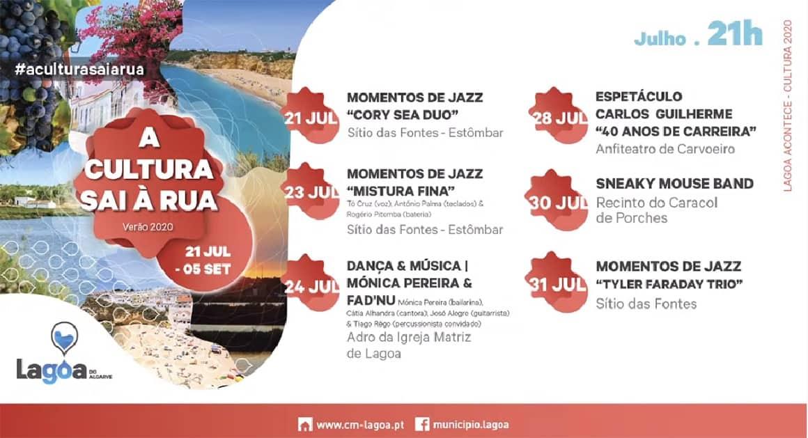 A Cultura sai à Rua, no concelho de Lagoa, com 22 espetáculos de verão, 6 localidades com identidade própria, 10 palcos diferentes, mais de uma centena e meia de artistas. Acontece entre julho e setembro de 2020.