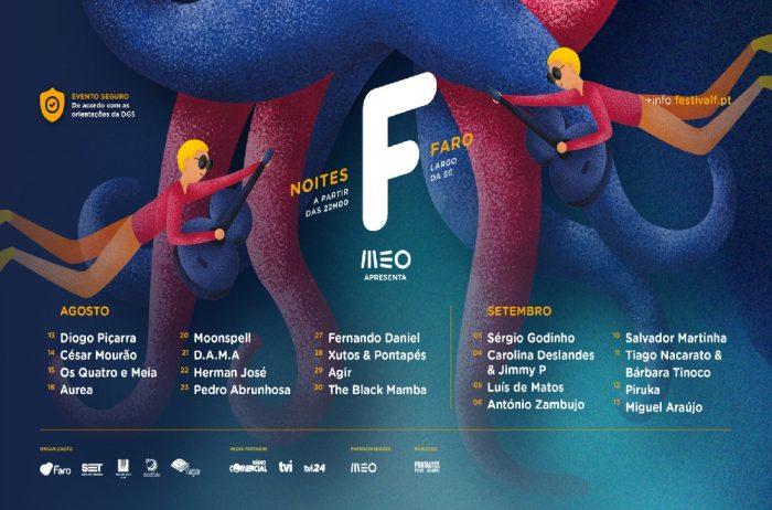 Noites F, uma celebração do Festival F em 20 espectáculos de música, humor e magia, com lotação reduzida, lugares sentados e respeitando todas as normas impostas pela Direção Geral de Saúde (DGS), que vai decorrer em Faro, no Largo da Sé, na Vila Adentro, de 13 de agosto a 13 de setembro.