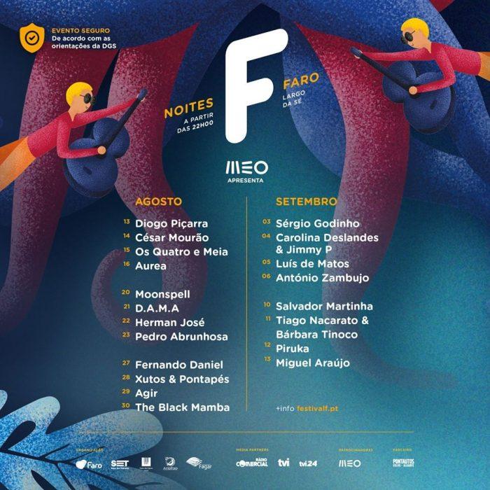 Noites F, uma celebração do Festival F em 20 espectáculos de música, humor e magia, com lotação reduzida, lugares sentados e respeitando todas as normas impostas pela Direção Geral de Saúde (DGS), vai decorrer em Faro, no Largo da Sé, na Vila Adentro, de 13 de agosto a 13 de setembro.